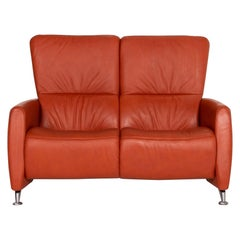 Himolla Cumuly Leather Sofa Orange Two-Seat Couch