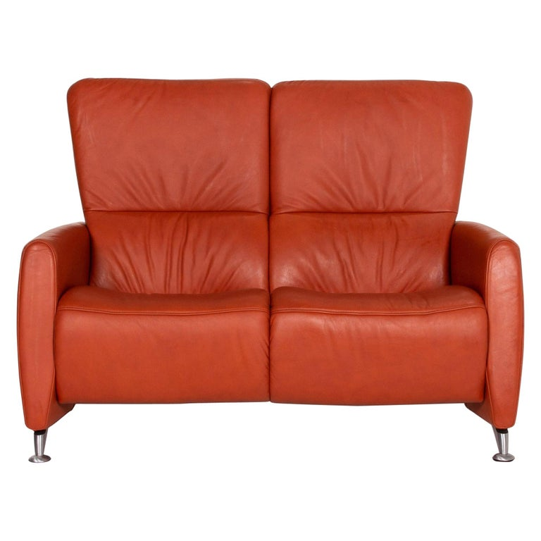 Himolla Cumuly Leather Sofa Orange Two-Seat Couch For Sale