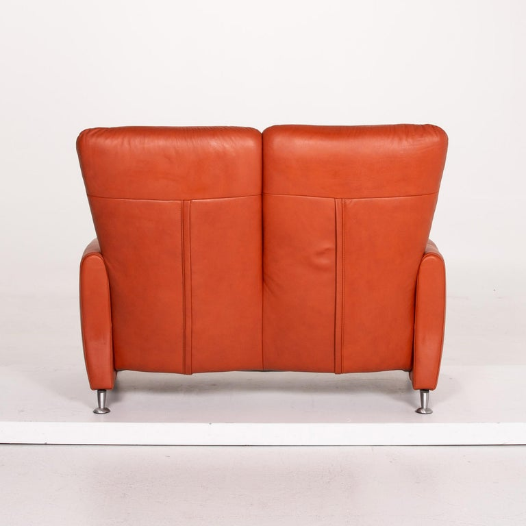 Himolla Cumuly Leather Sofa Orange Two-Seat Couch For Sale 4