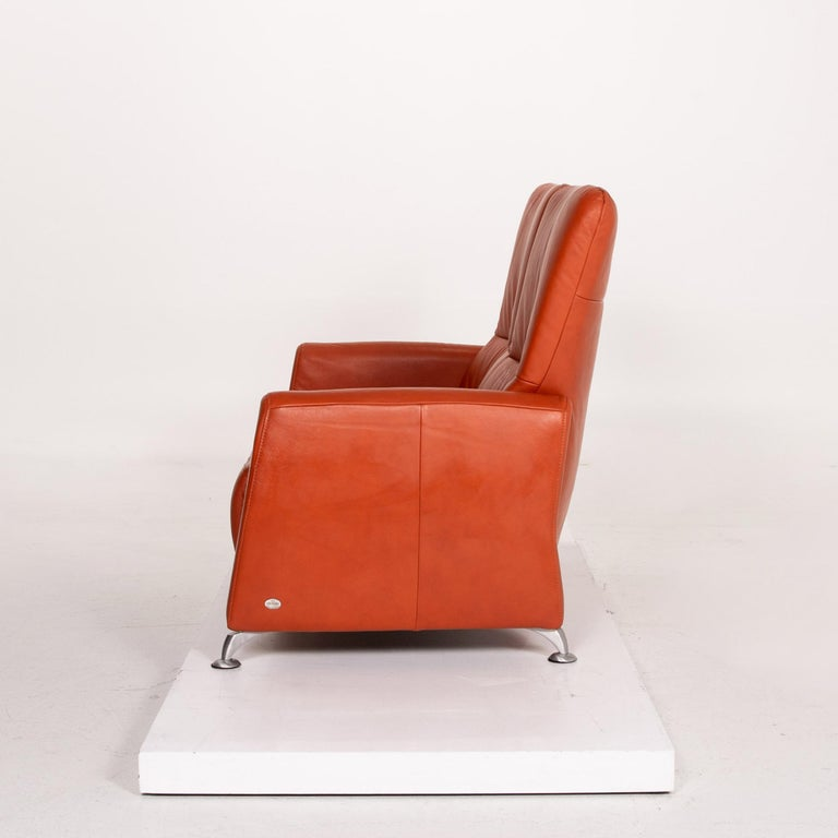 Himolla Cumuly Leather Sofa Orange Two-Seat Couch For Sale 5