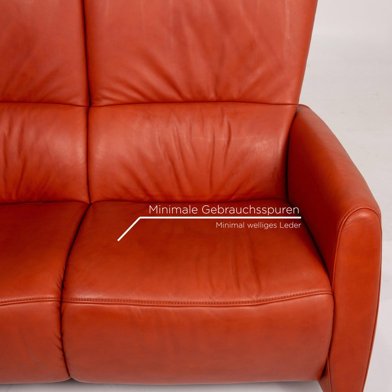 Polish Himolla Cumuly Leather Sofa Orange Two-Seat Couch For Sale