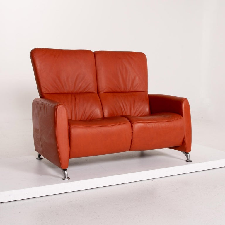 Himolla Cumuly Leather Sofa Orange Two-Seat Couch For Sale 1