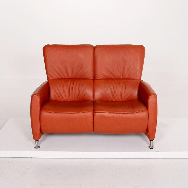 Himolla Cumuly Leather Sofa Orange Two-Seat Couch For Sale 2