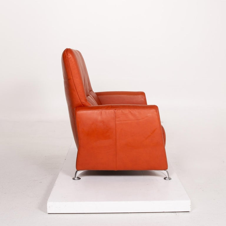 Himolla Cumuly Leather Sofa Orange Two-Seat Couch For Sale 3