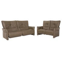 Himolla Cumuly Leather Sofa Set Olive Green 1x Three-Seater 1x Two-Seater