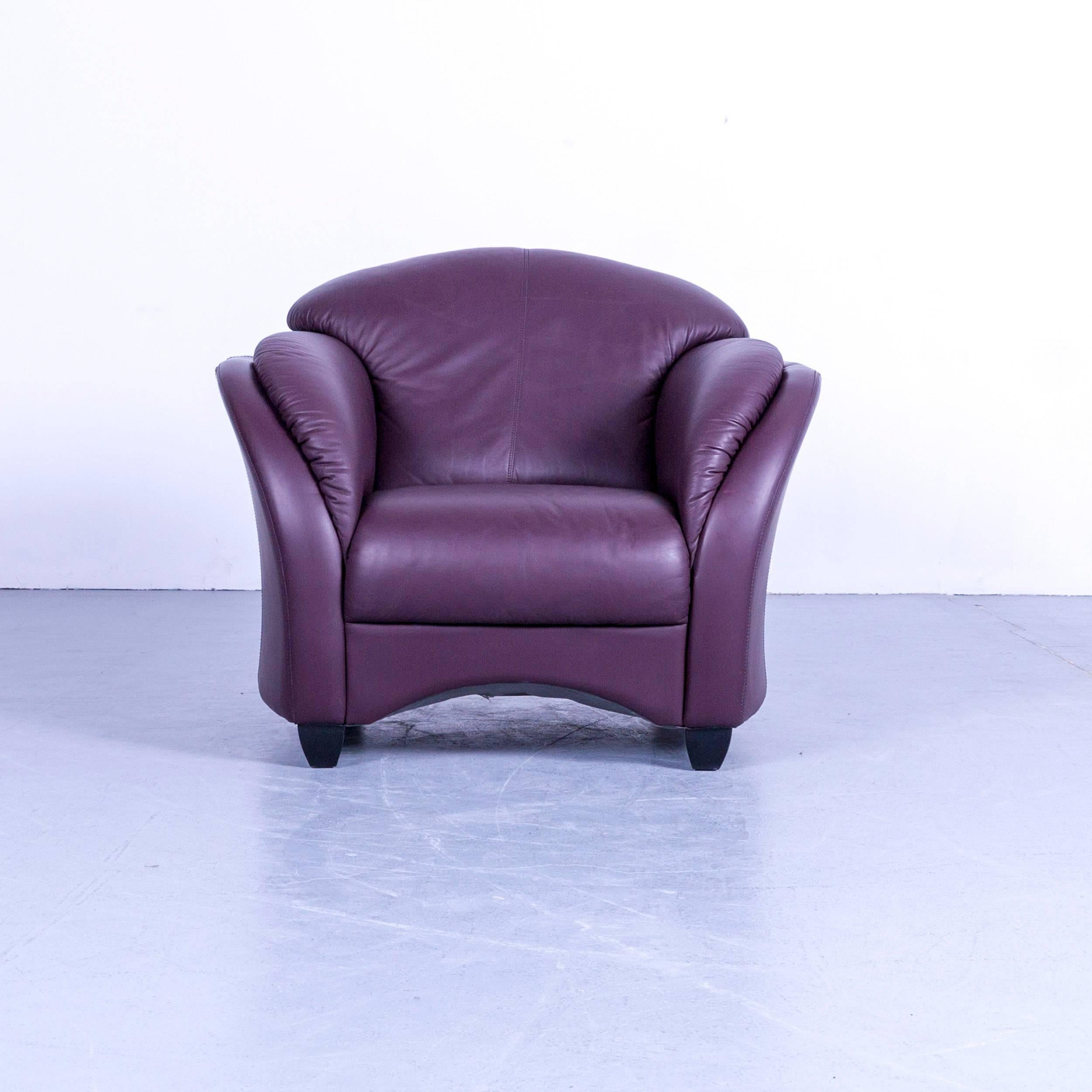 German Himolla Designer Armchair Set Two Purple Leather Velvet One Seater  Couch Modern For Sale