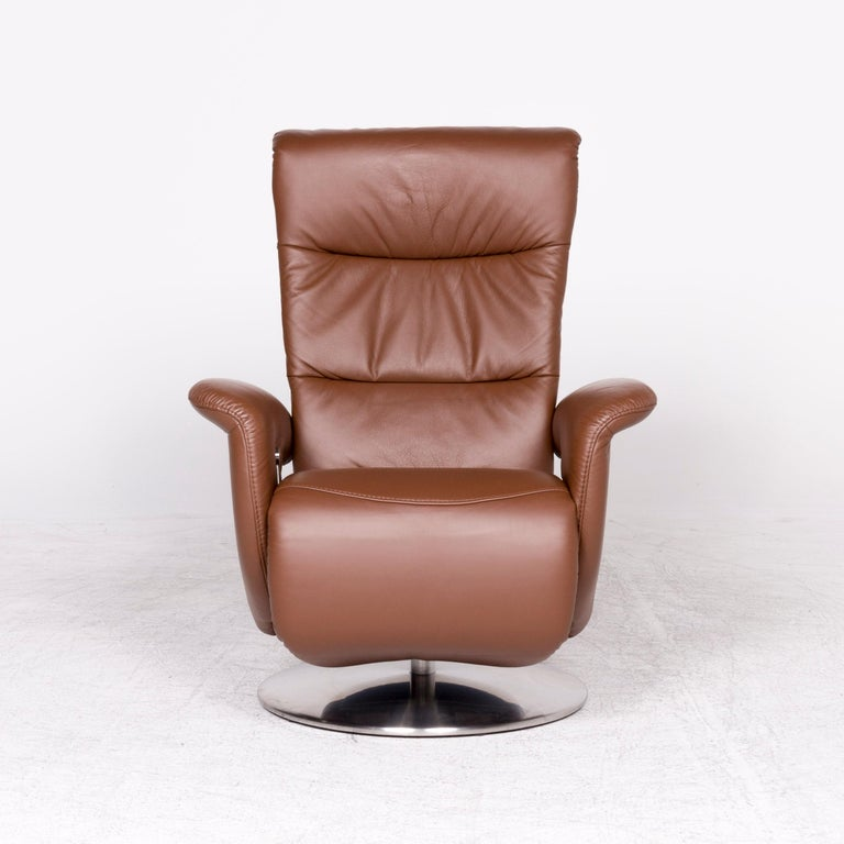 Himolla Designer Leather Armchair Brown Genuine Leather ...