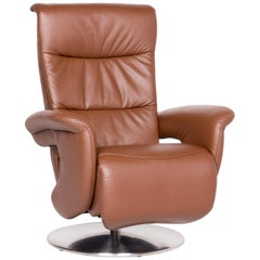 Himolla Designer Leather Armchair Brown Genuine Leather Chair