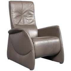 Himolla Designer Leather Armchair Grey Relax Function Chair