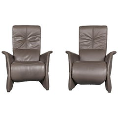 Himolla Designer Leather Armchair Set Grey Relax Function Chair