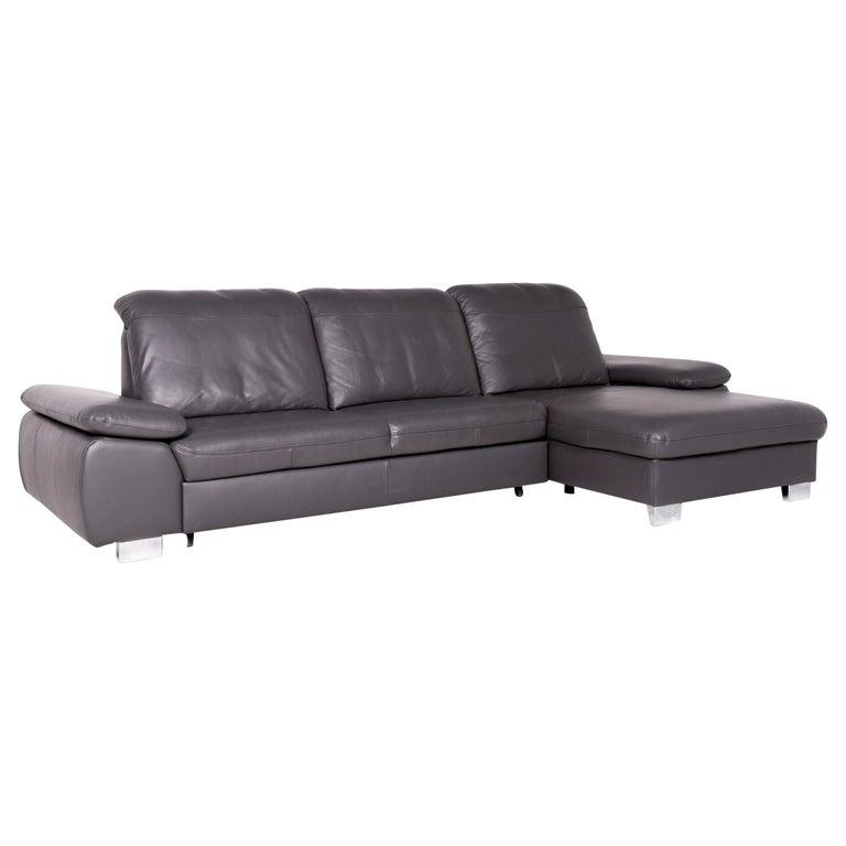 Himolla Designer Leather Corner Sofa Gray Genuine Leather Sofa Couch