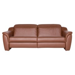 Himolla Designer Leather Sofa Brown Genuine Leather Three-Seat Couch