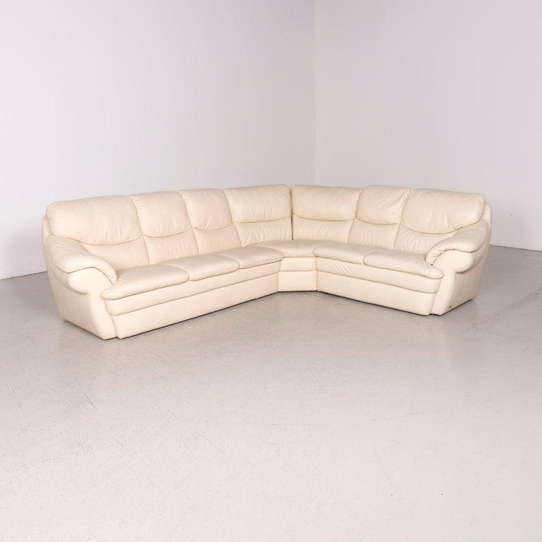 Himolla Designer Leather Sofa Cream Corner Sofa Genuine Leather