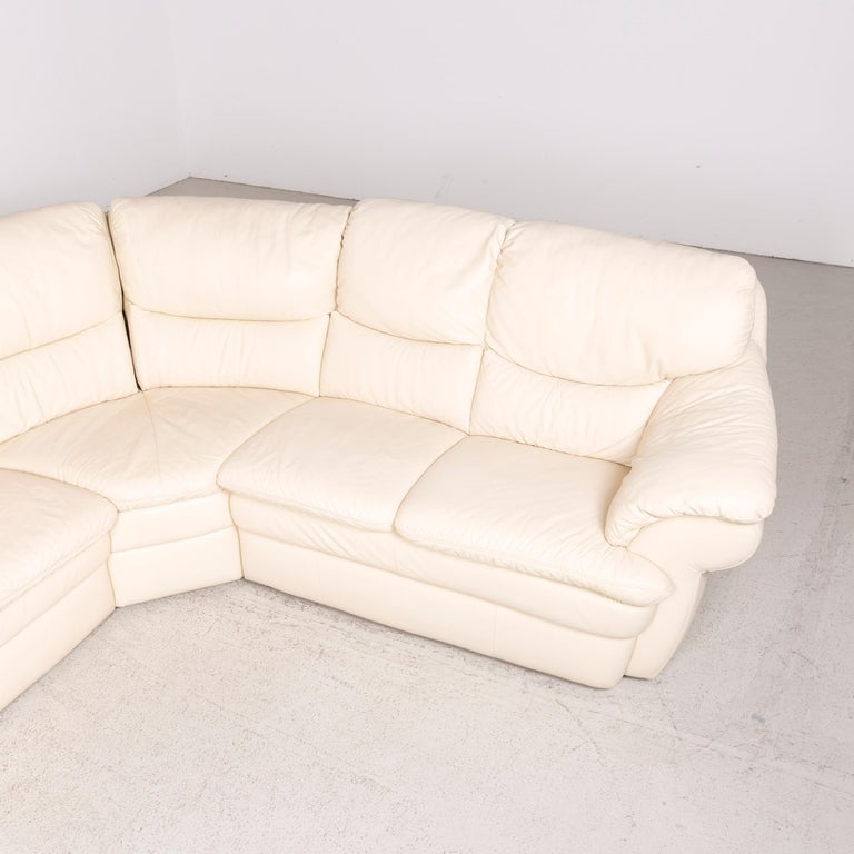 Himolla Designer Leather Sofa Cream Corner Sofa Genuine Leather
