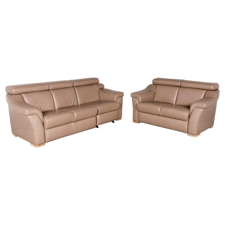 Leather Sofa Sets For Sale: Himolla Designer Leather Sofa Set Brown Genuine Leather