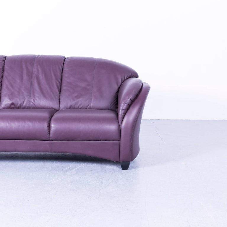 himolla designer sofa leather purple three seat couch germany modern at 1stdibs. Black Bedroom Furniture Sets. Home Design Ideas