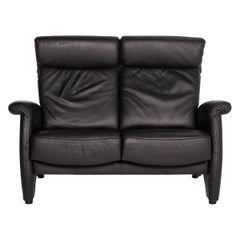 Himolla Ergoline Leather Sofa Black Two-Seater Function Couch