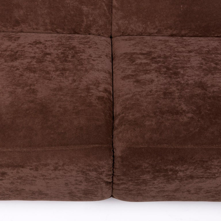 Polish Himolla Fabric Sofa Brown Two-Seat Couch For Sale