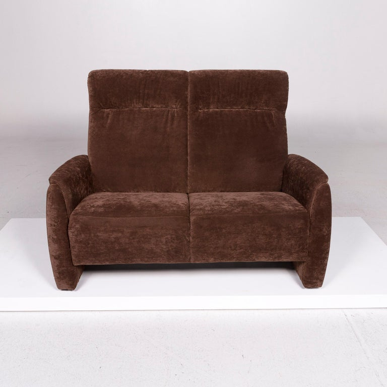 Contemporary Himolla Fabric Sofa Brown Two-Seat Couch For Sale