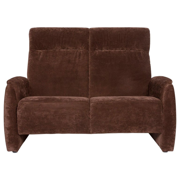 Himolla Fabric Sofa Brown Two-Seat Couch For Sale