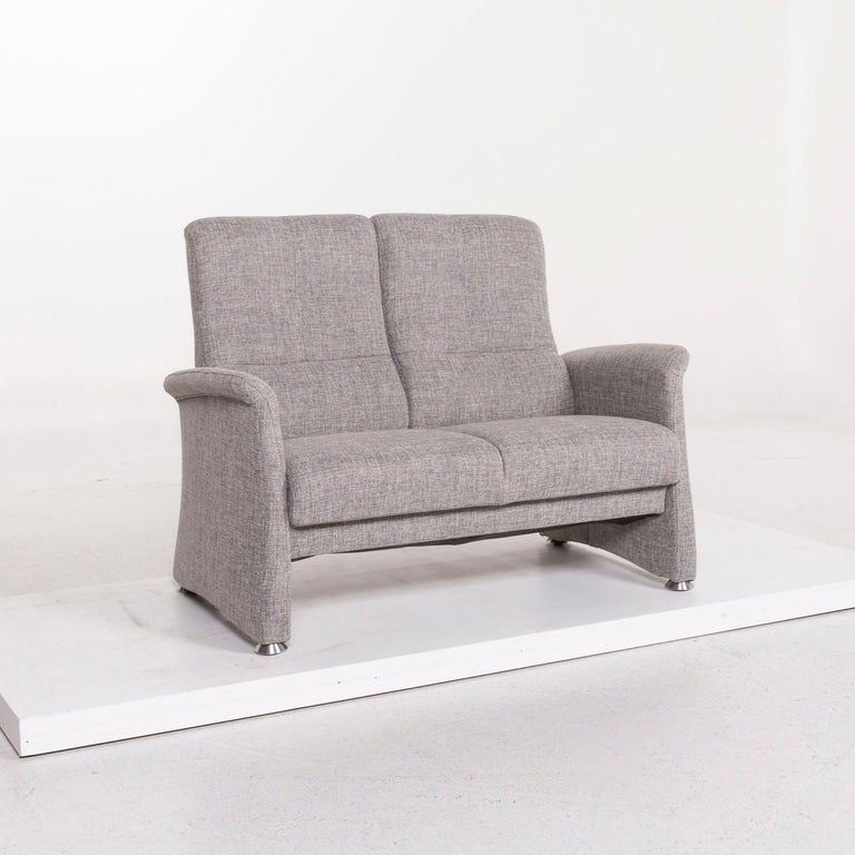 Himolla Fabric Sofa Gray Two-Seat Couch In Excellent Condition For Sale In Cologne, DE