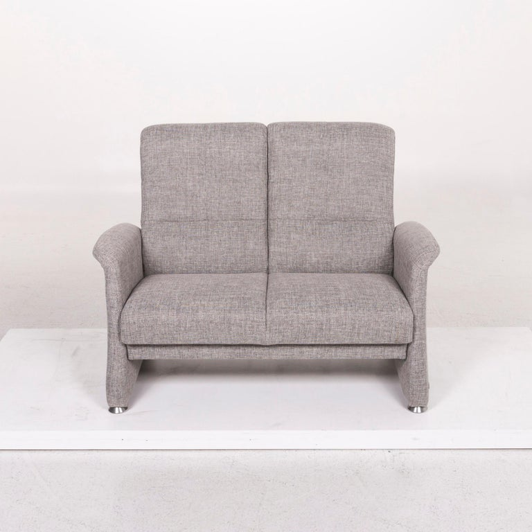 Contemporary Himolla Fabric Sofa Gray Two-Seat Couch For Sale