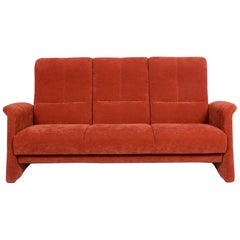Himolla Fabric Sofa Orange Rust Red Three-Seat Couch