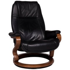 Himolla Leather Armchair Black Wood Relax Function