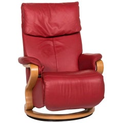 Himolla Leather Armchair Red Function Relax Function