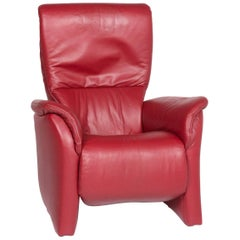 Himolla Leather Armchair Red Relax Function