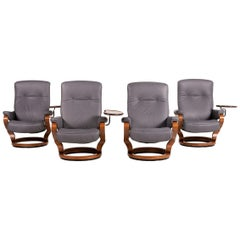 Himolla Leather Armchair Set Gray Relax Function Table Set 4x