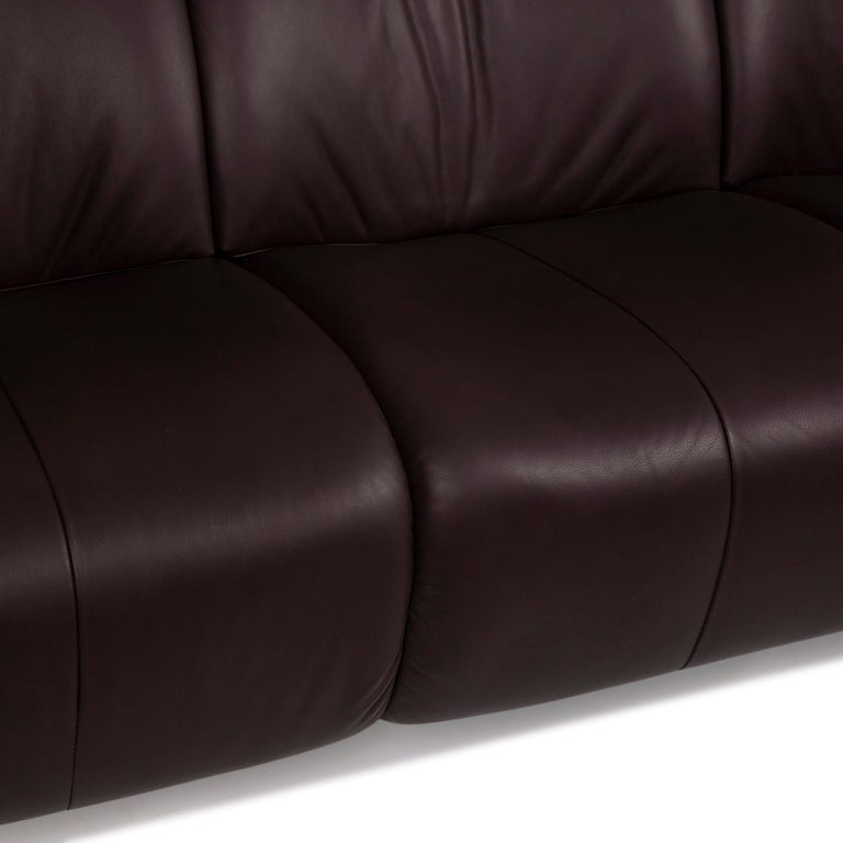 Modern Himolla Leather Sofa Brown Dark Brown Three-Seater Couch For Sale