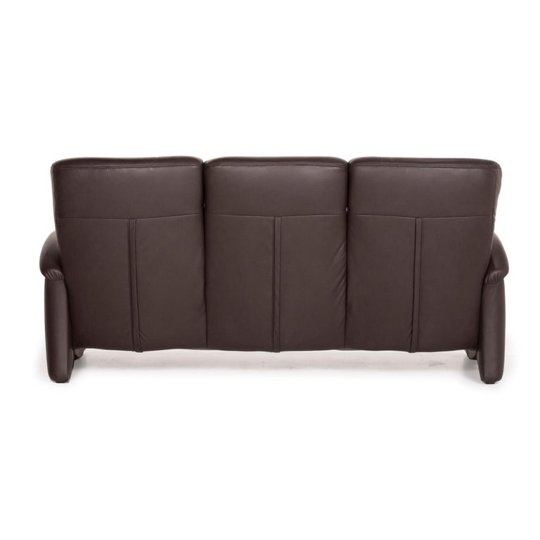 Himolla Leather Sofa Brown Dark Brown Three-Seater Couch For Sale 2