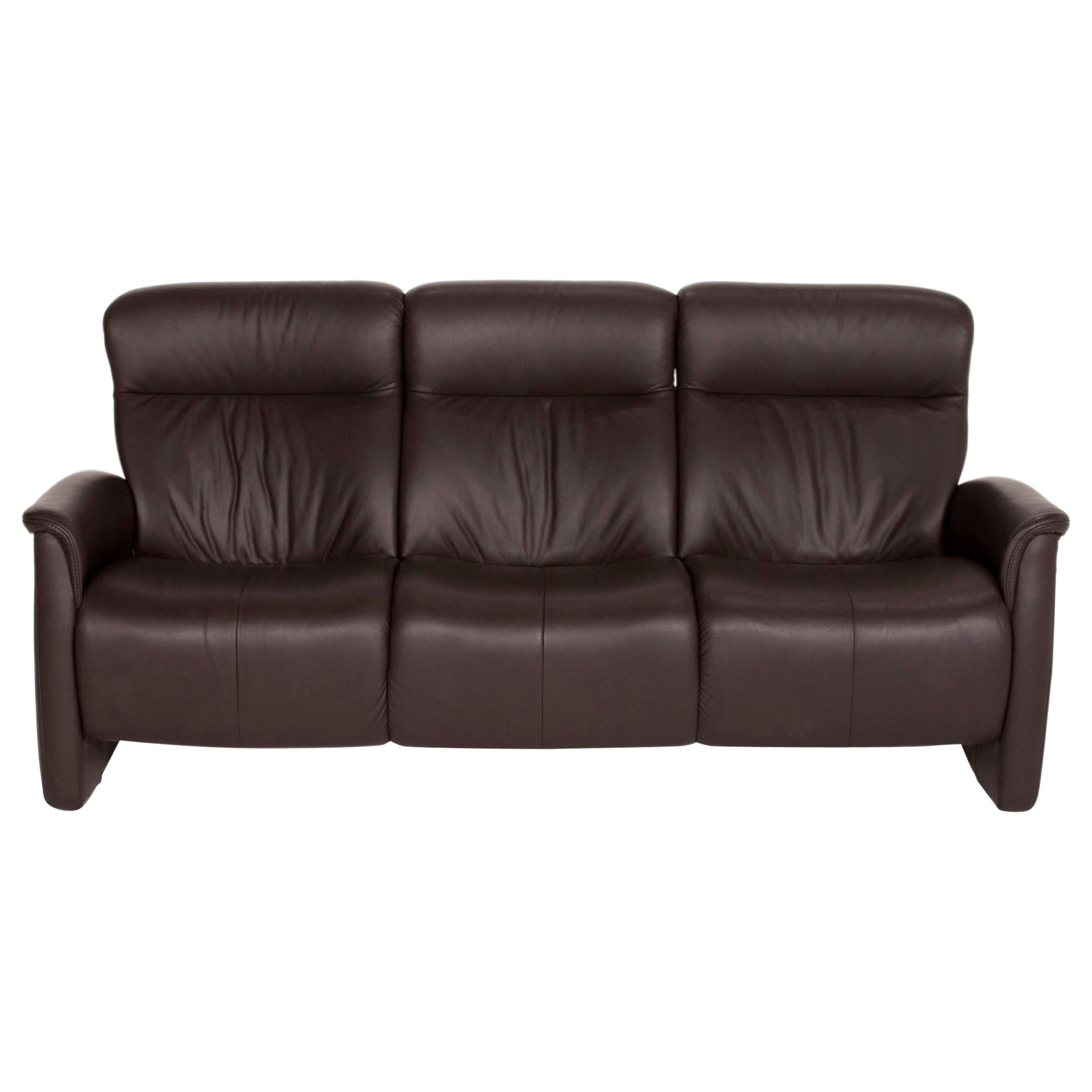 Himolla Leather Sofa Brown Dark Brown Three-Seater Couch
