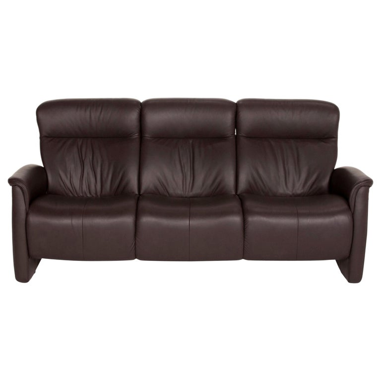 Himolla Leather Sofa Brown Dark Brown Three-Seater Couch For Sale