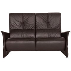 Himolla Leather Sofa Brown Dark Brown Two-Seat Function Couch