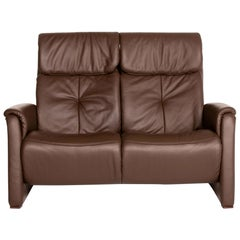 Himolla Leather Sofa Dark Brown Brown Two-Seat Function Relax Function Couch