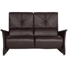 Himolla Leather Sofa Dark Brown Two-Seat Couch