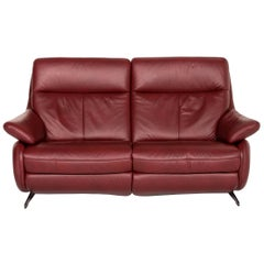 Himolla Leather Sofa Electric Function Red Dark Red Relax Function Couch