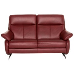 Himolla Leather Sofa Red Dark Red Two-Seat Couch