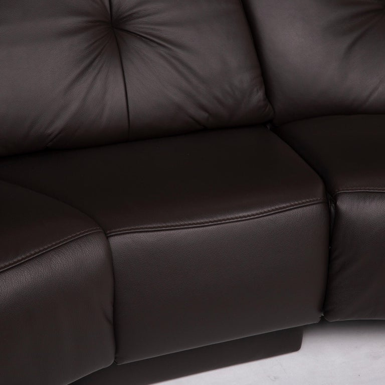 Himolla Trapeze Leather Sofa Dark Brown Three Seat Home Cinema Relaxation For Sale At 1stdibs