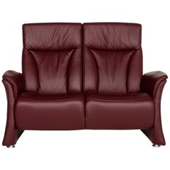 Himolla Trapezoid Leather Sofa Burgundy Red Two-Seat Couch