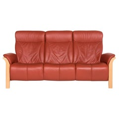 Himolla Windsor Leather Sofa Red Three-Seat Couch
