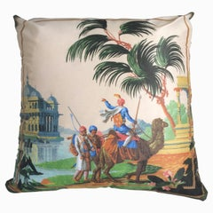 """Hindoustan Camel"" Silk Throw Pillow in Polychrome by Zuber"