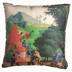 """Hindoustan Elephant"" Silk Throw Pillow in Polychrome by Zuber"