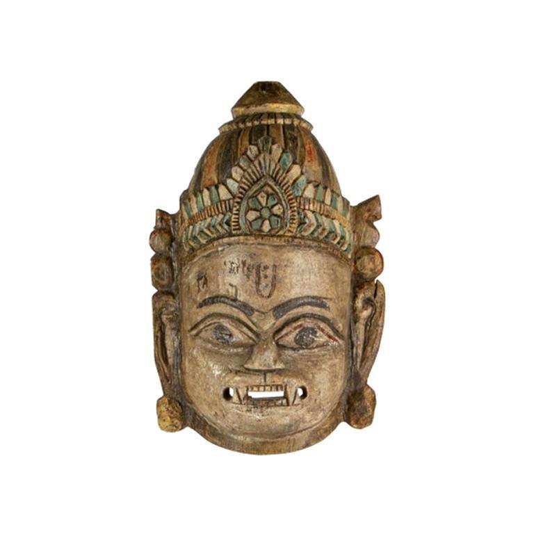 Hindu Carved and Painted Wood Mask of Hanuman