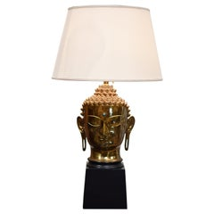 Hindu Head Brass Wood Table Lamp