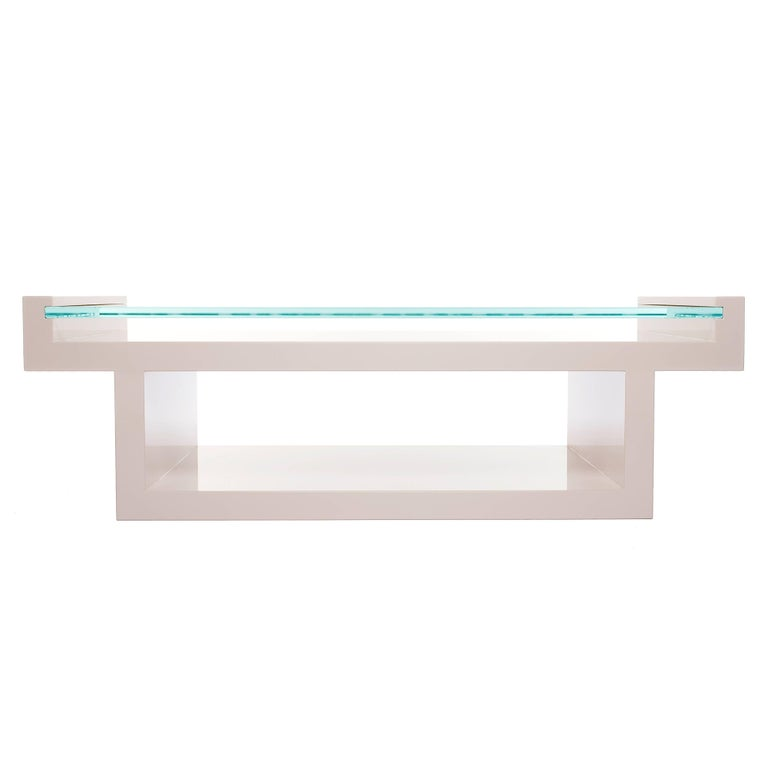 Hinge Table Lacquered with glass top  For Sale