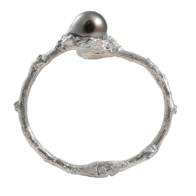 Women's Hinged Bypass Bracelet in Sterling Silver with Tahitian Pearls For Sale