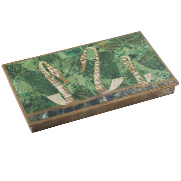 Hinged Malachite and Brass Box with Swans, Mexico 1950s, Los Castillo Style